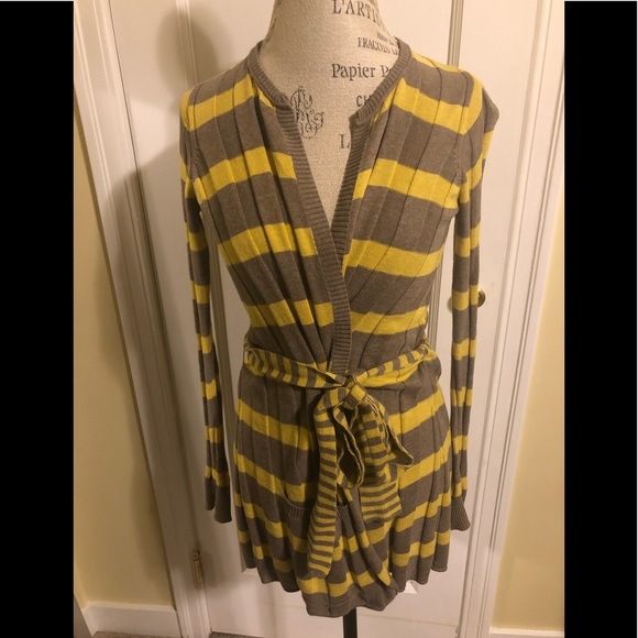 Anthropologie Maple Yellow Grey Striped Cardigan